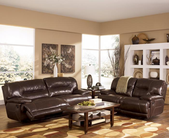 Ashley 424 Leather Sofa And Loveseat Set With Power Reclining